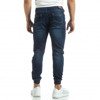 Мъжки сини тънки дънки с трикотажни маншети it120619-3 3