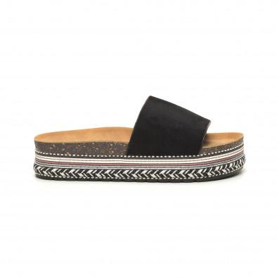 Черни дамски чехли декорирана платформа it050619-57 2