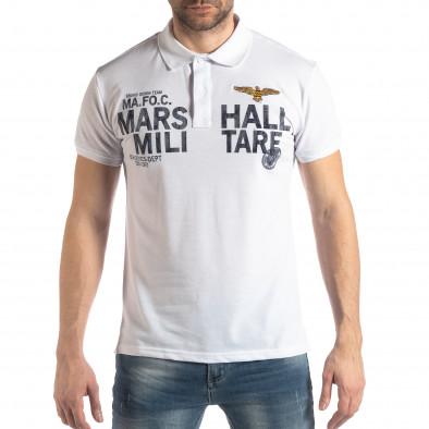 Бяла тениска с яка Marshall Militare it210319-86 2