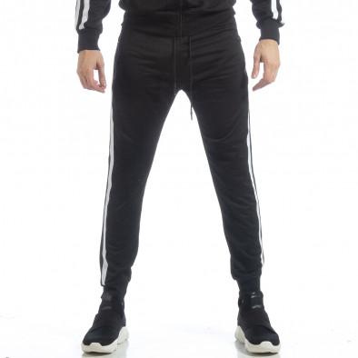Черно мъжко Biker долнище бял кант it040219-66 3