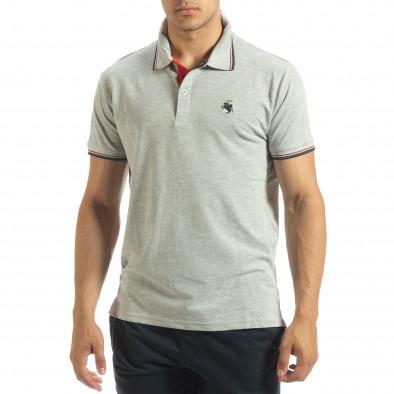 Мъжка тениска polo shirt в сиво it120619-24 2