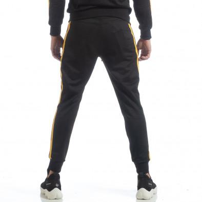 Черно мъжко Biker долнище жълт кант it040219-67 4