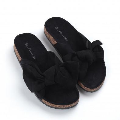 Черни дамски чехли с панделка it050619-45 3