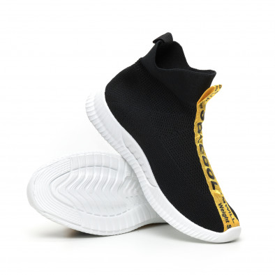 Мъжки slip-on маратонки чорап с жълти надписи в черно it110919-2 4