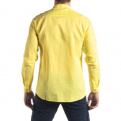 Мъжка риза от лен и памук в жълто it210319-103 4