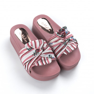 Розови дамски чехли на гумена платформа it050619-47 3