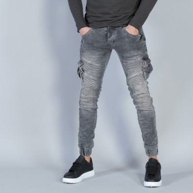 Рокерски мъжки Cargo Jeans в сиво it040219-16 2