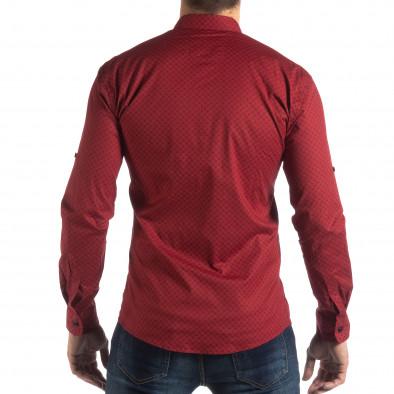 Мъжка вталена риза с червен кръстовиден десен it210319-95 3