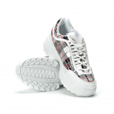 Дамски маратонки бяло каре с Chunky подметка it250119-53 4