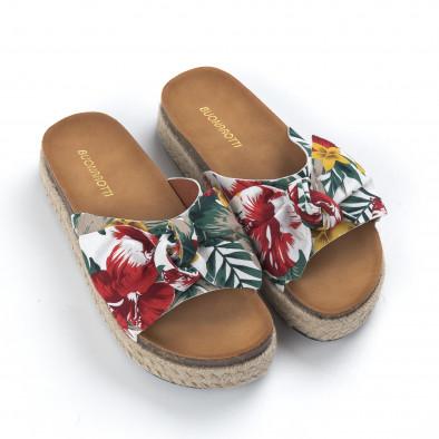 Дамски чехли с флорален десен и панделка it050619-66 3
