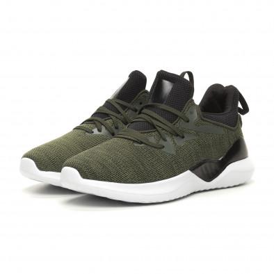 Меки плетени мъжки маратонки зелен меланж it060619-2 3