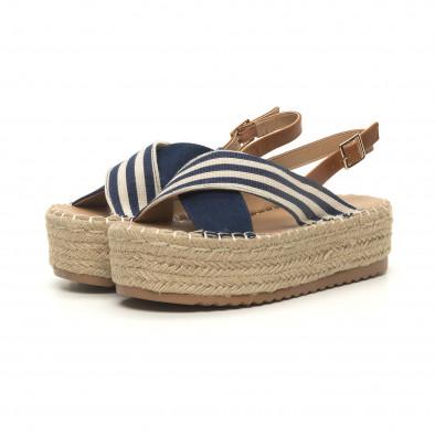 Дамски сини сандали тип еспадрили it050619-88 3