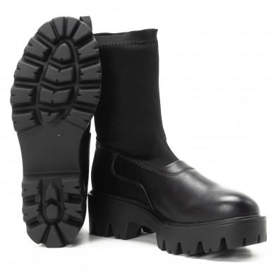 Дамски черни боти тип чорап с грайфери it301118-20 4