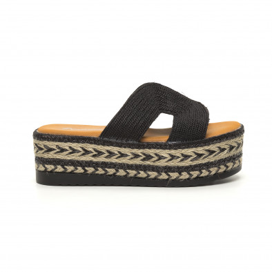 Дамски плетени чехли в черно равна платформа it050619-81 2
