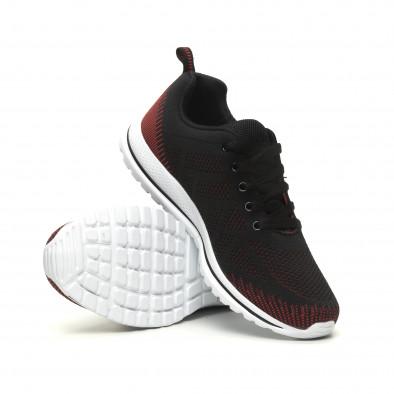 Плетени меки мъжки маратонки в черно-червено it040619-8 4