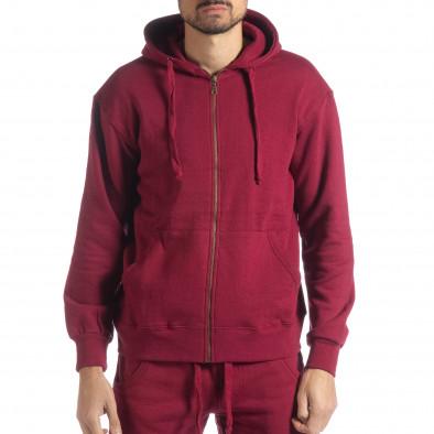 Basic мъжки памучен суичър в бордо it051218-39 2