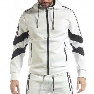 Мъжки бял суичър с V ивици it040219-108 2