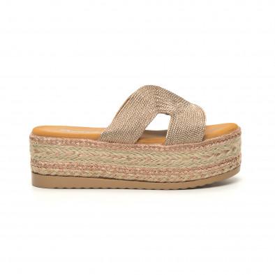 Дамски плетени чехли в златисто равна платформа it050619-80 2