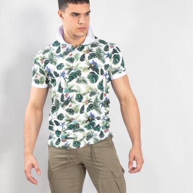 Флорална мъжка тениска с яка в бяло it150419-82 2