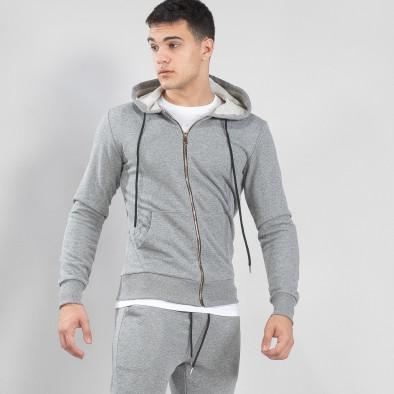Basic мъжки памучен суичър в сиво it150419-37 2