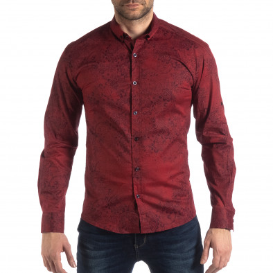 Slim fit мъжка риза Vintage десен в бордо it210319-98 2