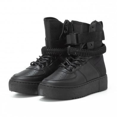Високи дамски кецове All black с аксесоар it150818-62 4
