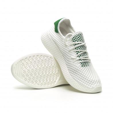 Бели мъжки маратонки Mesh зелена пета it230519-7 4