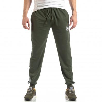 Зелено мъжко долнище с лого кантове it210319-48 3