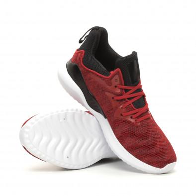 Меки плетени мъжки маратонки червен меланж it060619-1 4