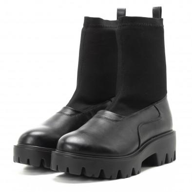 Дамски черни боти тип чорап с грайфери it301118-20 3