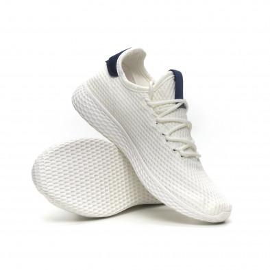 Мъжки бели леки маратонки синя пета it040619-5 4