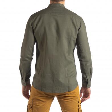 Мъжка риза от лен и памук в зелено it210319-102 4