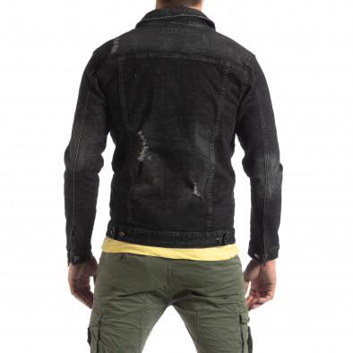 Мъжко еластично дънково яке в черно it210319-108 4