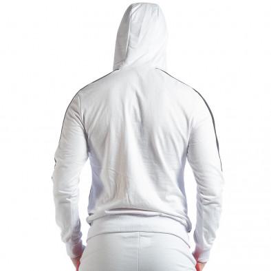 Бял мъжки суичър с ленти it040219-111 3