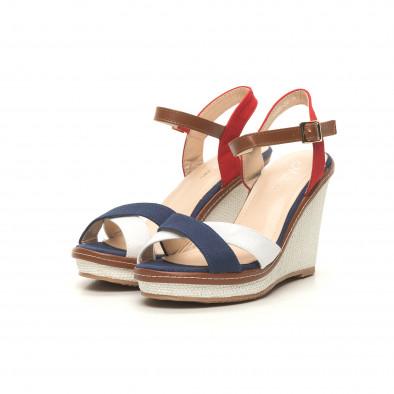 Дамски сандали в синьо, бяло и червено it050619-36 3