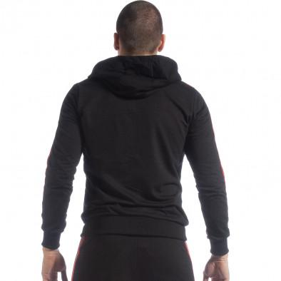 Черен мъжки суичър с качулка и кантове it040219-96 4