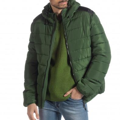 Мъжка зелена пухенка с черни части it051218-65 2