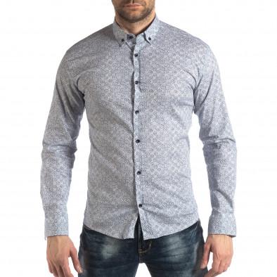 Slim fit мъжка риза с флорален десен в бяло it210319-91 2