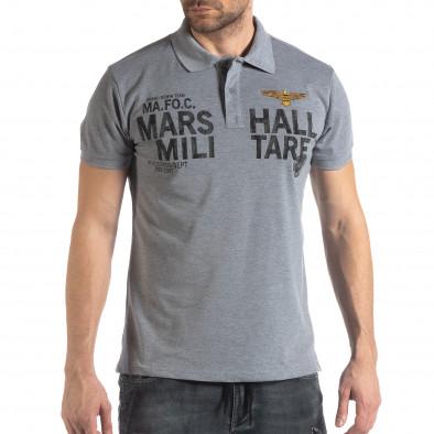 Сива тениска с яка Marshall Militare it210319-87 3