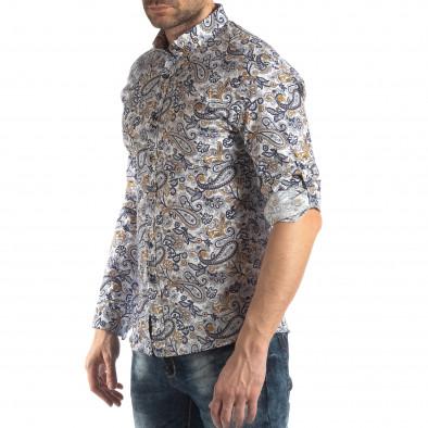 Мъжка бяла риза кашмирен десен с жълто it210319-89 3