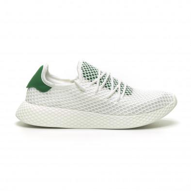 Бели мъжки маратонки Mesh зелена пета it230519-7 2