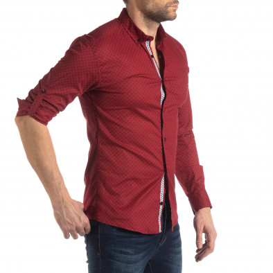 Мъжка вталена риза с червен кръстовиден десен it210319-95 4