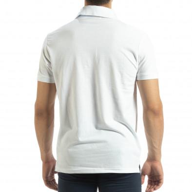 Мъжки бял polo shirt със синьо столче it120619-29 3