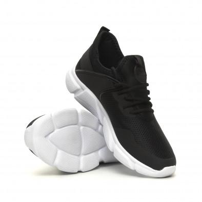 Мъжки леки комбинирани маратонки тип чорап в черно it040619-6 4