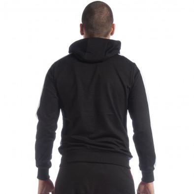 Черен мъжки суичър с ленти it040219-110 4