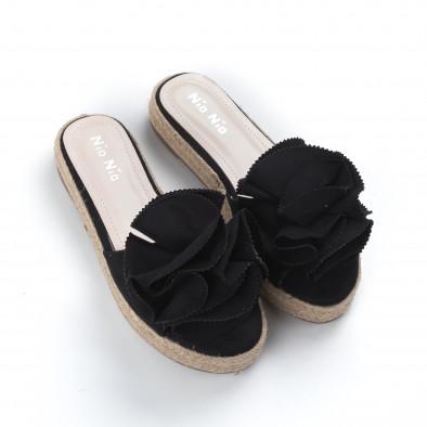 Елегантни черни дамски чехли тип еспадрили it050619-74 3