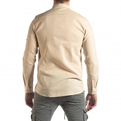 Мъжка риза от лен и памук в бежово it210319-101 4