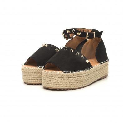 Черни дамски сандали тип еспадрили с капси it050619-35 3