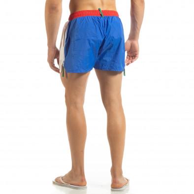 Мъжки бяло-син бански с червен ластик it230415-21 3