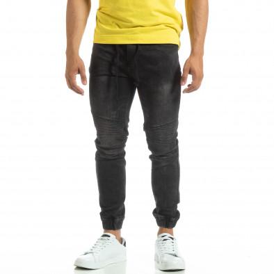 Мъжки черни рокерски дънки тип Jogger it120619-5 3